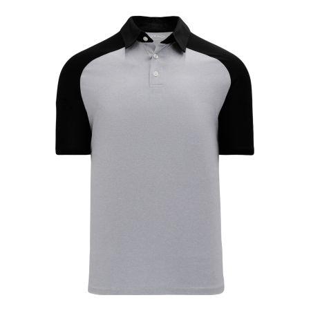 A1815 Apparel Polo Shirt - Heather Grey/Black