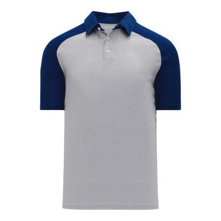 A1815 Apparel Polo Shirt - Heather Grey/Navy