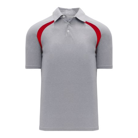 A1820 Apparel Polo Shirt - Heather Grey/Red