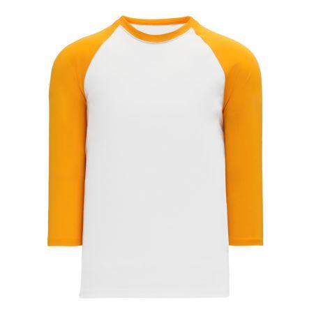 BA1846 Pullover Baseball Jersey - White/Gold