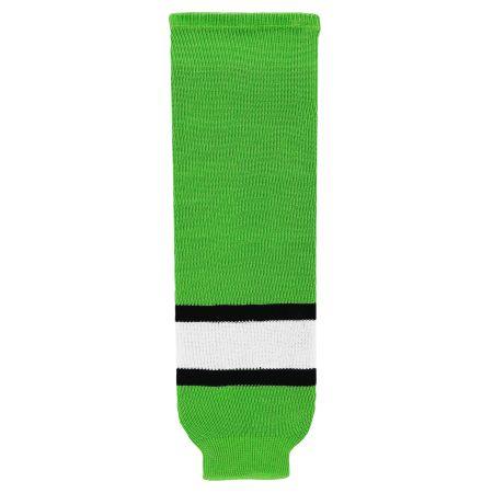 HS630 Knitted Striped Hockey Socks - Lime Green/Black/White