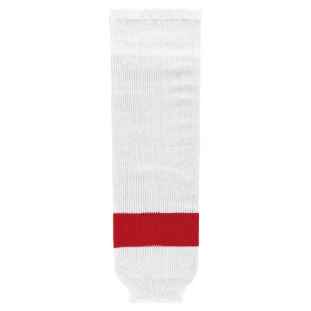 HS630 Knitted Striped Hockey Socks - Detroit White