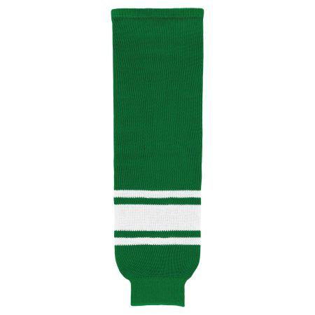 HS630 Knitted Striped Hockey Socks - Kelly/White