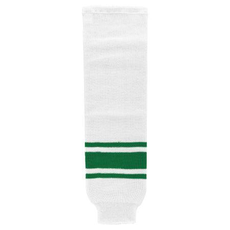 HS630 Knitted Striped Hockey Socks - White/Kelly