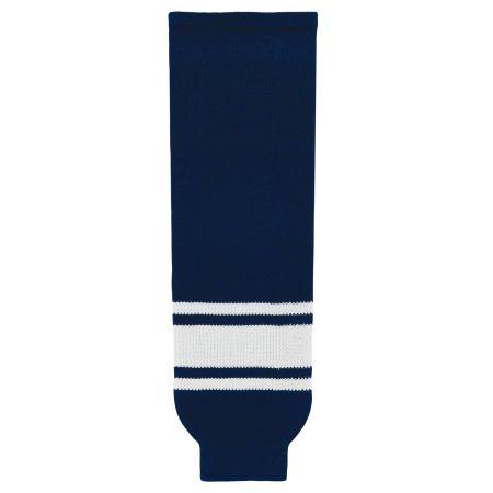 HS630 Knitted Striped Hockey Socks - Navy/White