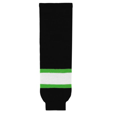 HS630 Knitted Striped Hockey Socks - Black/White/Lime Green