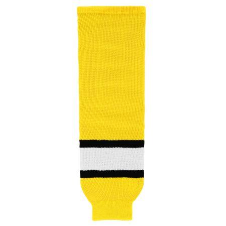 HS630 Knitted Striped Hockey Socks - Maize/Black/White