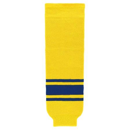 HS630 Knitted Striped Hockey Socks - Maize/Royal