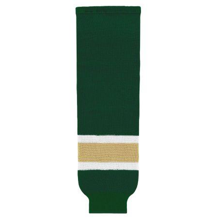 HS630 Knitted Striped Hockey Socks - Dark Green/Vegas/White
