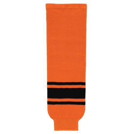 HS630 Knitted Striped Hockey Socks - Orange/Black