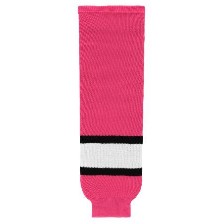 HS630 Knitted Striped Hockey Socks - Pink/White/Black