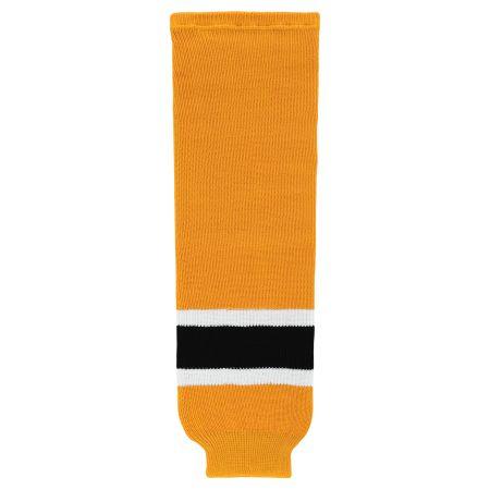 HS630 Knitted Striped Hockey Socks - Boston Gold