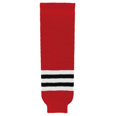 HS630 Knitted Striped Hockey Socks - Chicago Red