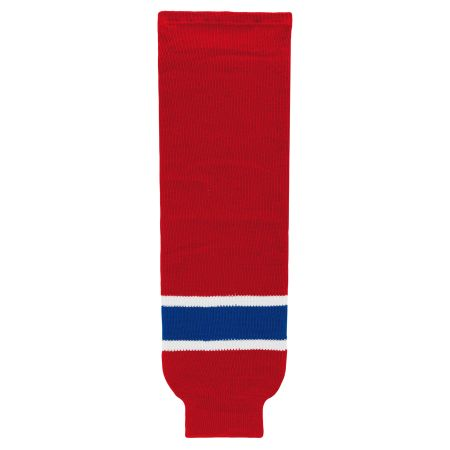 HS630 Knitted Striped Hockey Socks - Montreal Red
