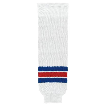 HS630 Knitted Striped Hockey Socks - New York Rangers White