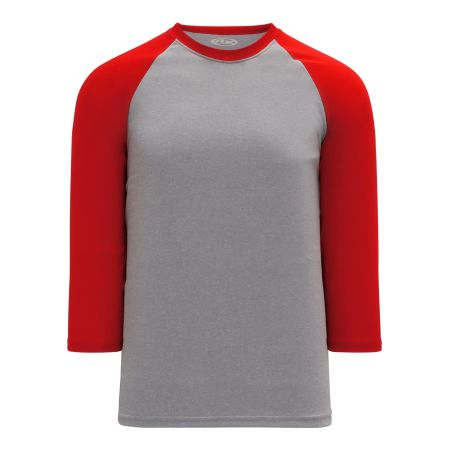 S1846 Soccer Jersey - Heather Grey/Red