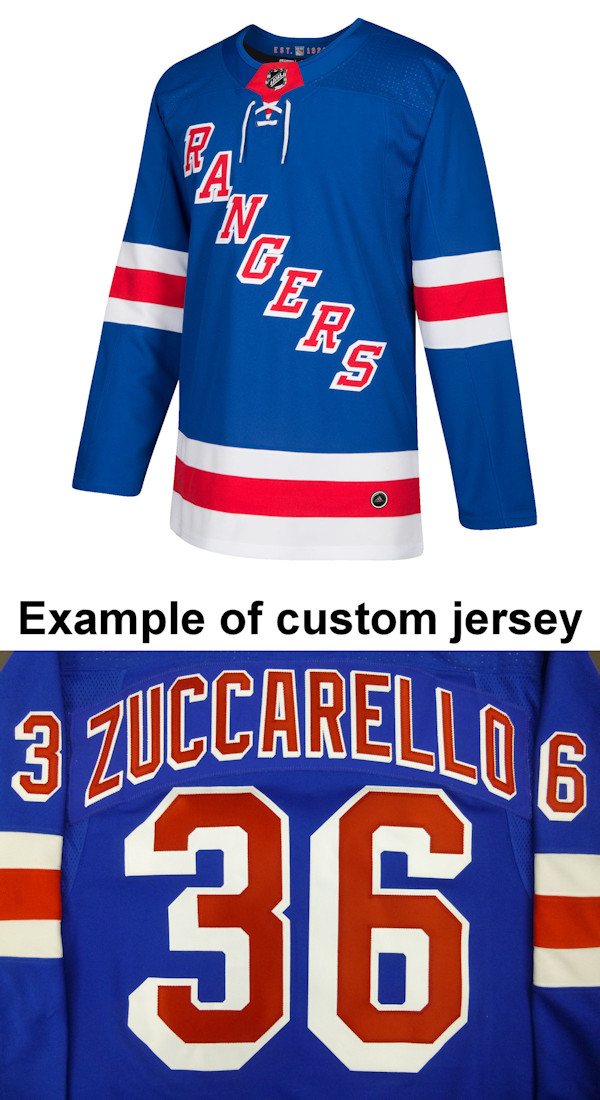 Pro Customized - ANY NAME - Adidas Authentic New York Rangers Jersey - Home