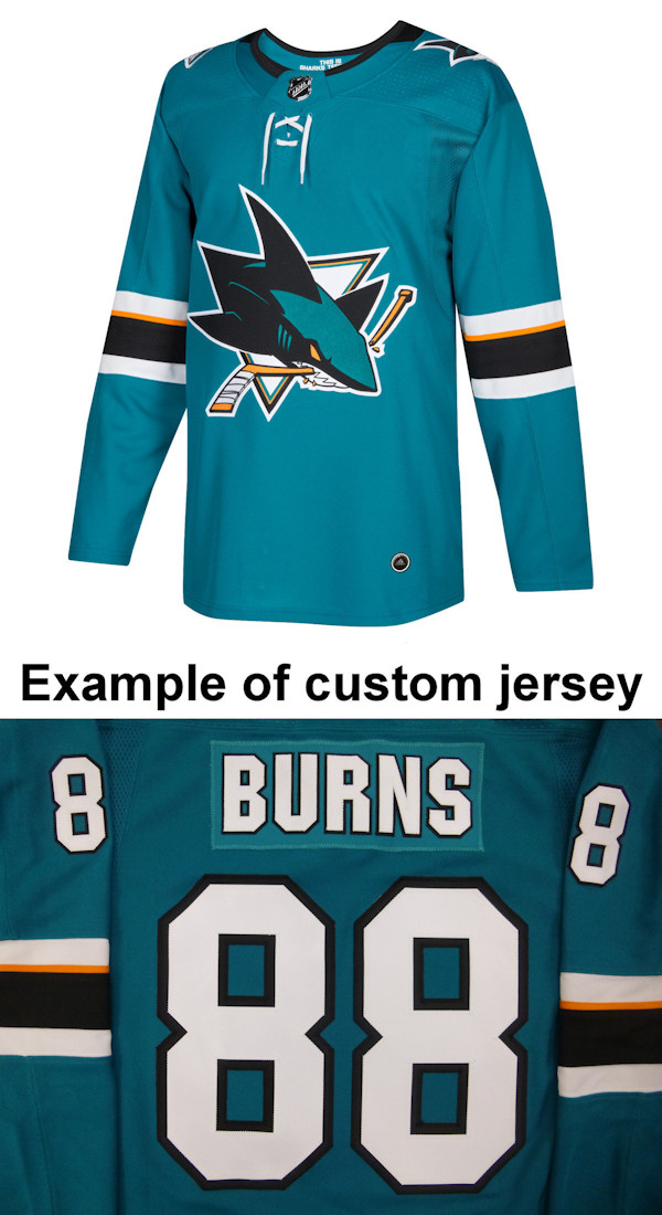 Pro Customized - ANY NAME - Adidas Authentic San Jose Sharks Jersey - Home