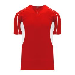 BA1745 One Button Baseball Jersey - Red/White