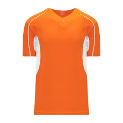 BA1745 One Button Baseball Jersey - Orange/White