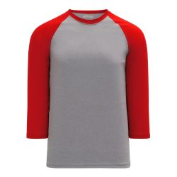 BA1846 Pullover Baseball Jersey - Heather Grey/Red