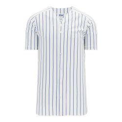 BA524 Full Button Baseball Jersey - White/Royal