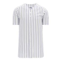 BA524 Full Button Baseball Jersey - White/Navy