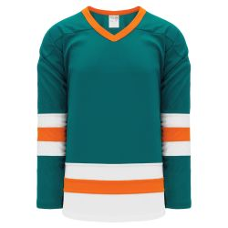 H6500 League Hockey Jersey - Pacific Teal/White/Orange
