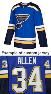 Pro Customized - ANY NAME - Adidas Authentic St. Louis Blues Jersey - Home