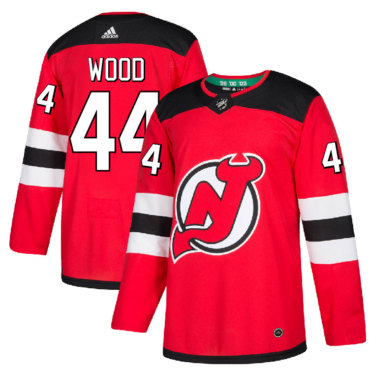 Details about #44 Miles Wood Jersey New Jersey Devils Home Adidas Authentic